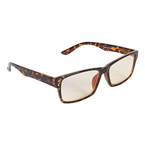 Inner Vision Eye Strain Relief Computer Screen Glasses w/Case - Anti Blue Light, Anti Glare, Scratch Resistant, Spring Hinges - Unisex, (Non-Prescription), Brown Tortoise from E-Living Store