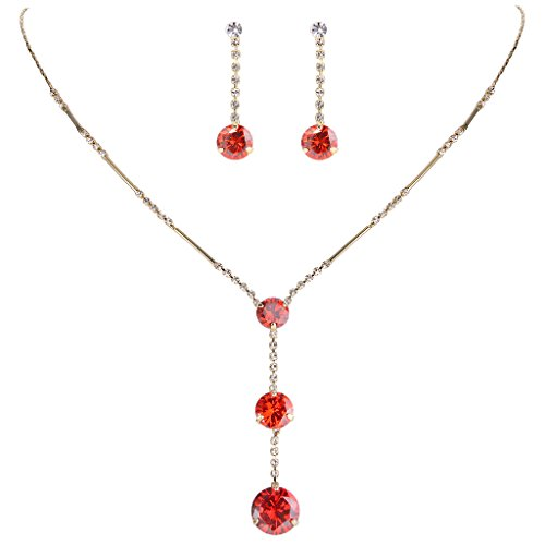 EleQueen Women's Long Ball Round Bridal Y-Necklace Earrings Set Gold-tone Ruby Color Austrian