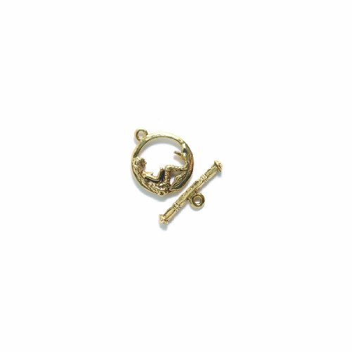 Shipwreck Beads Base Metal Mermaid Toggle Clasp, Metallic, Antique Gold, 17 by 20mm, Set of 2