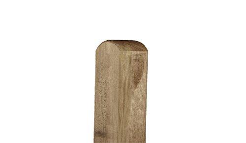 Material kdi Zaun-Pfosten aus Holz als Befestigungs-Pf/ähle im Ma/ß 7 x 7 x 90 cm mit Rundkopf zur Montage eines Garten-Zaunes Kiefer//Fichte