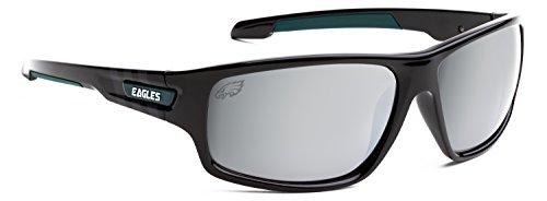 Officially Licensed NFL Sunglasses, Philadelphia Eagles, 3D Logo on Temple - 100% UVA, UVB & UVC - With Sunglasses Eagle Logo