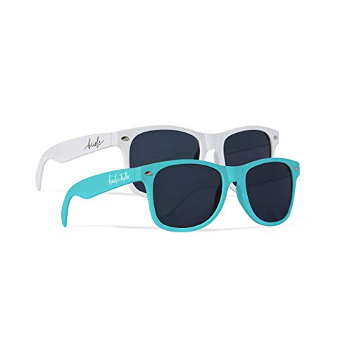Samantha Margaret 10 Piece Set of Bride Tribe and Bride Sunglasses, Perfect for Bachelorette Parties, Weddings, and Showers! (Turquoise)