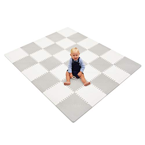 Baby Foam Playmat – Baby Play Mat – Foam Playmat – Designer Foam Play Mat – Playmat Baby – Extra Thick Grey and White…