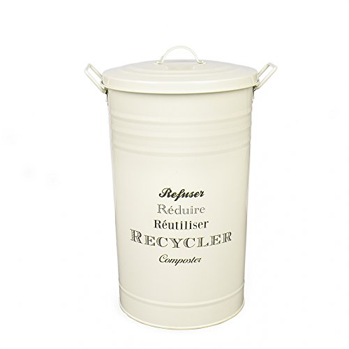 Home by Jackie Inc W01 Large Metal Food/Clothing/Sundries Kitchen Storage Tin Canister/Bucket/Containers with Lid and Handle (Cream)]()