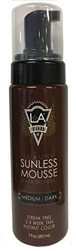 LA Tan Luxury Sunless Mousse Medium Dark Black Bronzer 7 oz.