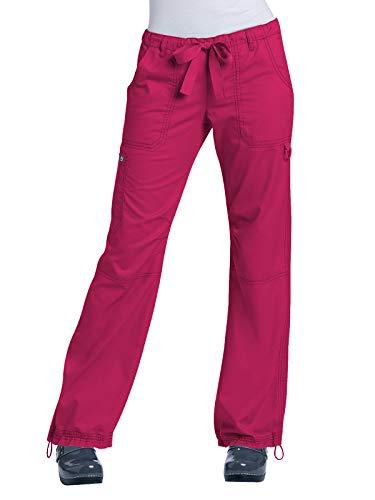 (KOI Women's Lindsey Ultra Comfortable Cargo Style Scrub Pants (Tall Sizes), Ruby, Large)