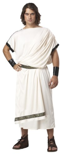 California Costumes Men's Deluxe Classic Toga Set, Cream, One -