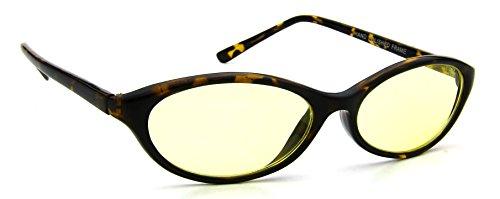 Retro Womens Sunglasses Brown Tortoise Plastic Frame Oval Yellow Lens 100% UV400