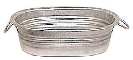 Set Of 12 Galvanized Metal Oval Mini Wash Tubs