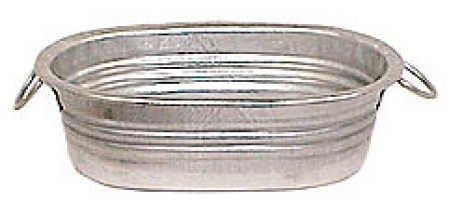 Set of 12-Galvanized Metal Oval Mini Wash Tubs -