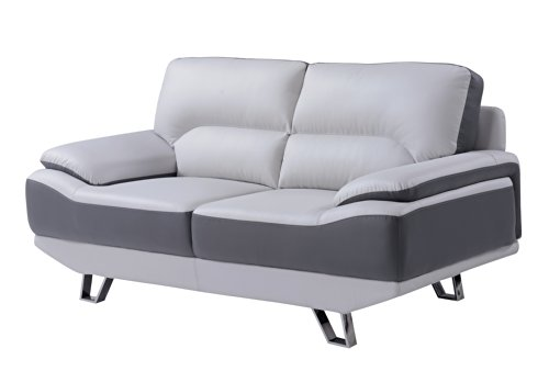 Toned Microfiber Sectional Sofa - Global Furniture Natalie Loveseat, Light Grey and Dark Grey