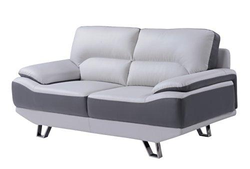 Global U7330-R6u6-L Loveseat In Light Grey & Dark Grey Leath