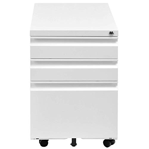 Giantex Rolling Mobile File W/3 Lockable Drawers and Pedestal for Office Study Room Home Steel Storage Cabinet (White) by Giantex (Image #6)