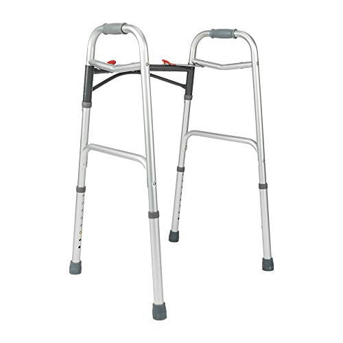 Mefeir Easy Folding Standard Arc Rod Walker w/Push Button-Safety Mobility Aid for Adult, Senior, Elderly&Handicap, Lightweight, Portable, Adjustable Height, Ultra Convenient, Silver&Gray by Mefeir