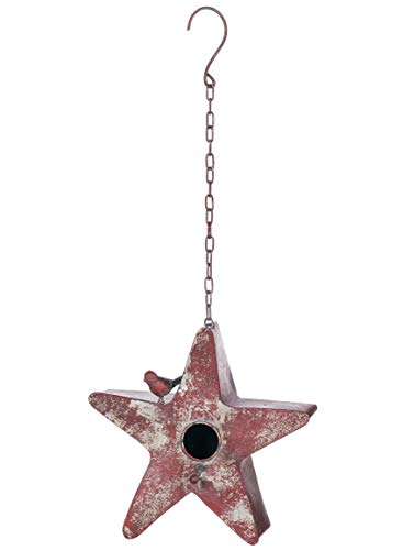 Sullivans Red Rustic Star-Shaped 9.5 Inch Metal Decorative Hanging Birdhouse