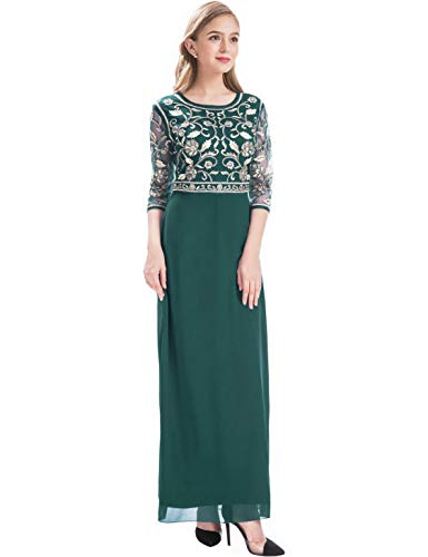 (MANER Women Chiffon Beaded Sequin 3/4 Sleeve Long Gowns Prom Evening Bridesmaid Dress (M, Dark Green/Gold))