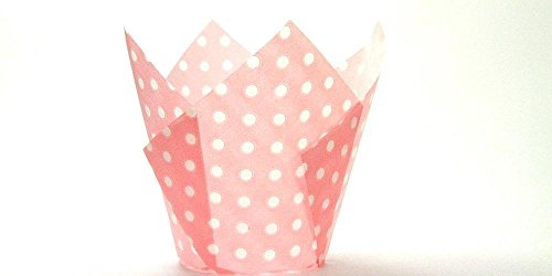 250pc Tulip Liner Light Pink with White Dots