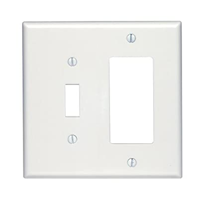 Leviton 80605-W Midway Size Thermoset Device Mount 2-Gang 1-Toggle 1-Decora/GFCI Device Combination Wallplate, White