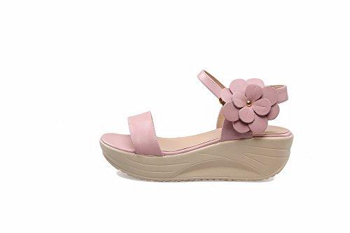 Solid Kitten Heels Soft Sandals Open AllhqFashion Womens Pink Buckle Toe Material qSwXWA15