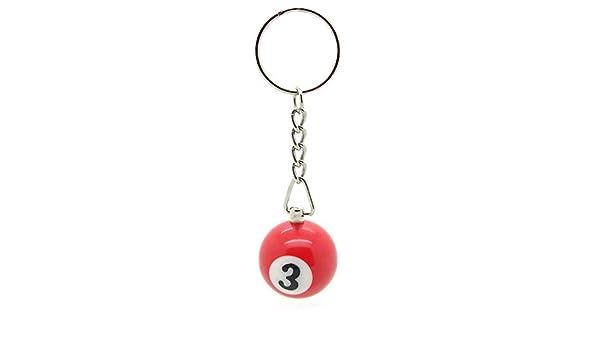 llavero bola de billar carambola colgante con anillo número 3 roja: Amazon.es: Joyería