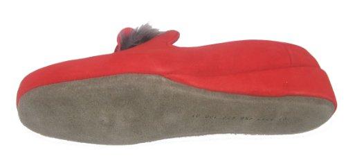 Mujer Fortuna Cosy Casa Cuero Rojo Sylvia De Zapatillas 7UpqY