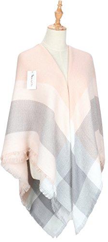 Oversized Plaid Scarves Blanket Scarf Cashmere-Shawl Womens Winter Tartan Wrap Warm Tassels Pashmina