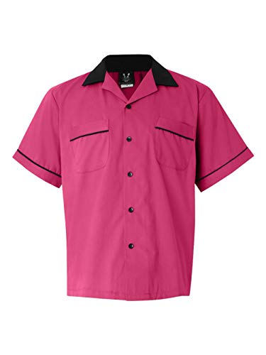 Cotton Shirts Bowling (Hilton Bowling Retro Gm Legend (Pink_Black) (L))