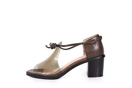 Open Heels Cow AmoonyFashion Sandals Leather Lace Solid Coffee Womens Kitten up Toe 7pW64qYR