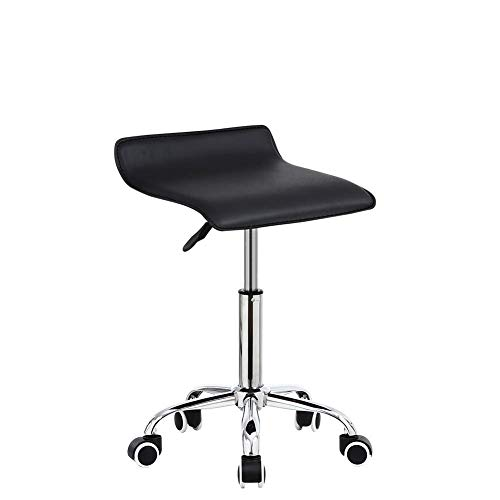 KKTONER Square Rolling Stool PU Leather Height Adjustable Swivel Massage SPA Salon Stools Task Chair with Wheels Black (Renewed)
