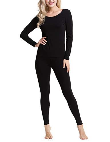 Aifer Thermal Underwear Long John Set Slimming Top & Bottom Pajama for Women (Top Crewneck Thermal)