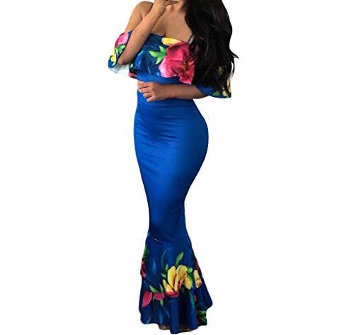 Women Two-Piece Suit, Caopixx 2pcs Women Sexy Floral Ruffled Cold Shoulder Shirt+Fishtail Skirt Set Blue