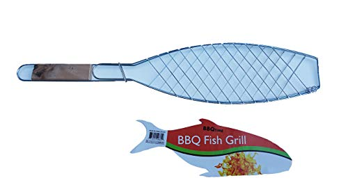 Barbecue Fish Grill Basket – Amazing Tool for Perfectly Grilling Your Favorite Fish – Great for Cooking at an Outdoor an Outdoor BBQ or Camping - Measures Approximately 21.5