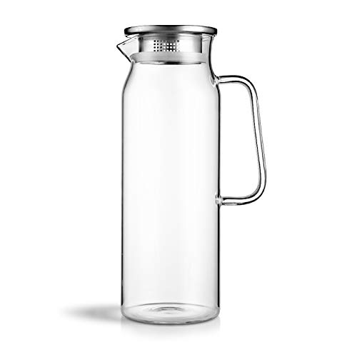 FIOLTY 1700ml/58oz Heat Resistant pot Water Kettle Home Water Bottle Drinking With Stainless Steel Cover Jar: 1700ml, Clear