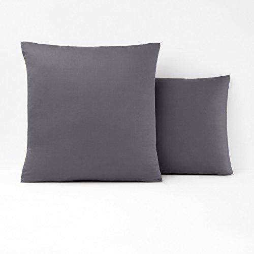 Coverlet Satin Squares (La Redoute Interieurs Cotton Satin Pillowcase Grey Size Square (63 X 63Cm))