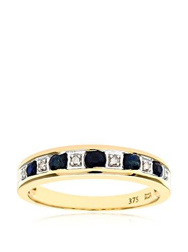 Revoni - Bague Éternité en or jaune 9 carats, saphirs et diamants