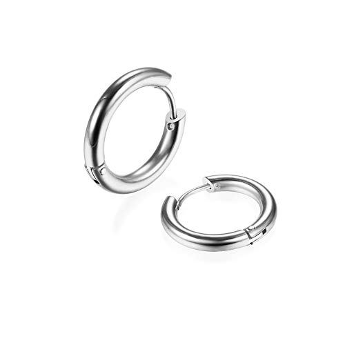 2Pcs 316L Surgical Stainless Steel Huggie Hoop Earrings 8mm Hypoallergenic Earrings Hoop Cartilage Helix Lobes Hinged Sleeper Earrings for Men Women(Silver 8mm)