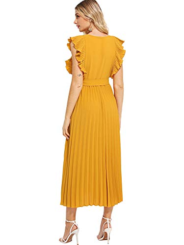 Milumia Women Wrap Dress Fit Flare Ruffle Sleeveless Summer Retro Sundress