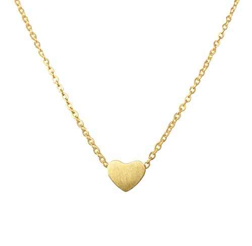 Altitude Boutique Simple Heart Necklace for Her, Pendant Love Choker or Long Style (Gold)