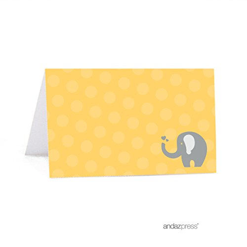 Andaz Press Yellow Gray Gender Neutral Elephant Baby Shower Collection, Table Tent Printable Place Cards, 20-Pack, Dessert Table Catering Food Station Cards -