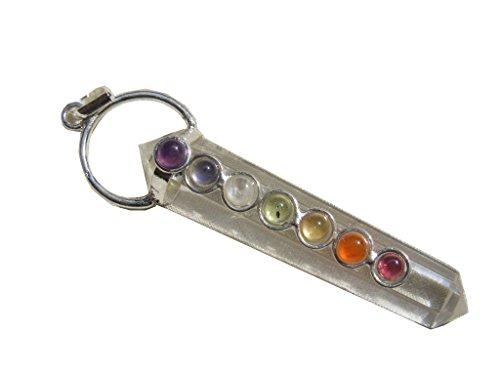 Pendant Crystal Wand (mysticalindia Crystal Quartz Healing Pendant Wand, 7 Chakra Double Pointed Six Sided Healing Dowsing, Master Healer.)