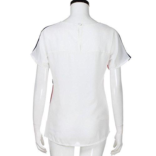 Manche Casual ~ Tops S Shirts O Femmes Couleur Shirts Wolfleague Courte T Chemisier Chic Rouge XL Cou Bloc en Mousseline de de Soie Tunique 58ZwxTAq1x