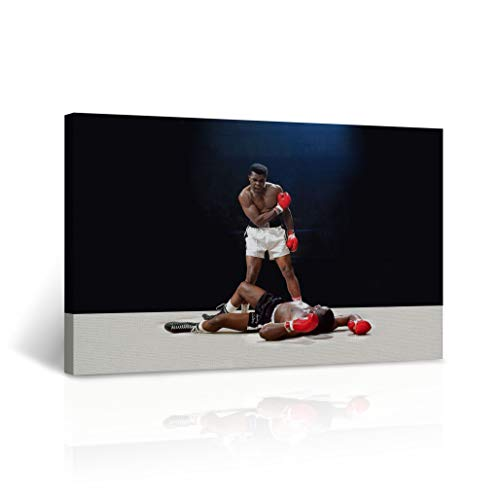 Famous Muhammad Ali vs Sonny Liston First Minute, First Round Knockout Picture CANVAS PRINT Extraordinary Win Legendary Wall Art Home Decor Stretched - Ready to Hang - %100 Handmade in the USA 15x22 -