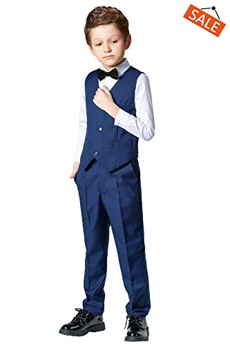 Toddler Suits for Boys Wedding Suit Dress Shirt Navy Blue Vest and Pants Sets for Boy with Bow Tie Size 12