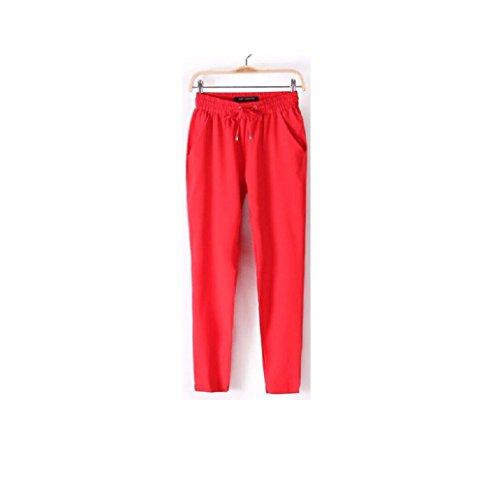 Long Fluide Elastique Taille Grande Harlan Travail Oudan Rouge Chic De Femme Eté Pantalons wTkiulOPZX