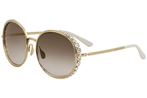 Elie Saab Vague 016/S 01Q VU Gold Plated Sunglasses Gold Mirror Shaded Zeiss ()