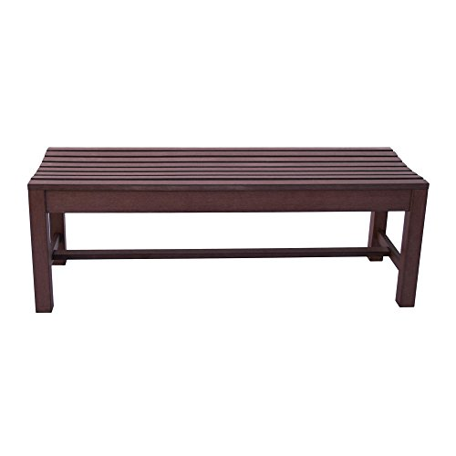 Shine Company 7204CB Backless Outdoor Bench, 4′, Chateau Brown