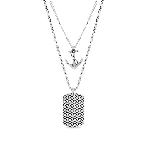 Steve Madden Men's Oxidized Anchor and Textured Dogtag Pendant Double Strand Chain Necklace Set in Stainless Steel, Silver, 28