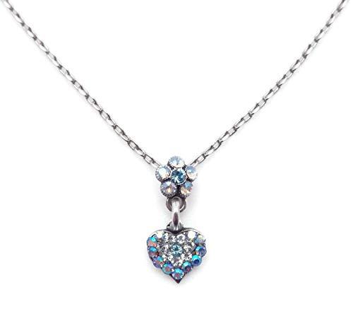 Mariana Italian Ice Swarovski Crystal Silvertone Pendant Necklace Dainty Blue Clear Mix Flower & Heart 141 (Flower Ice Swarovski)