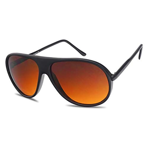 SunglassUP - Blue Blocking Oversized Bomber Aviator Sunglasses Amber Tinted Lens (Matte Black, Amber (Blue Buster Lens)) (Long Long Way To Go Miami Vice)