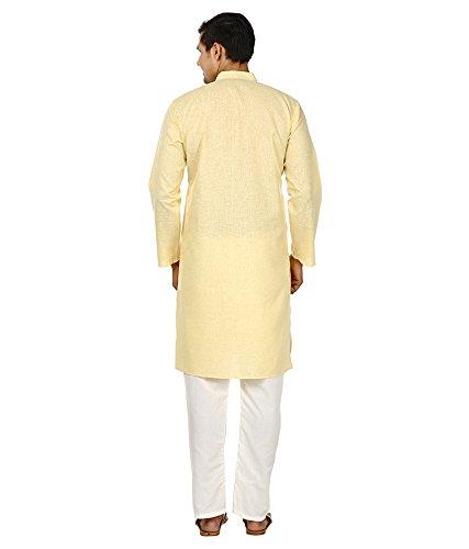 Royal Kurta Men's Fine Cotton Linen Airy Kurta Pyjama Set 44 Lemon by Royal Kurta (Image #2)